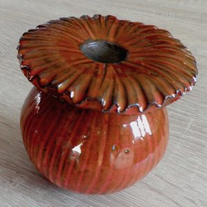 Grand pavot en céramique orange