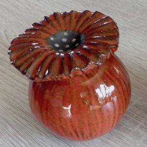 Petit pavot en céramique orangé